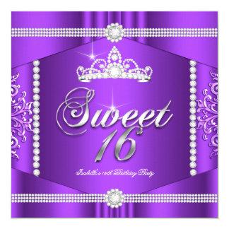 Diamant för party för Princess Sötsak 16 för Fyrkantigt 13,3 Cm Inbjudningskort