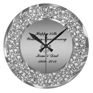 Diamanter & 25th bröllopsdag för silver stor klocka