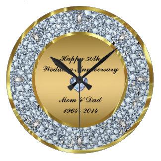 Diamanter & bröllopsdag för guld 50th stor klocka