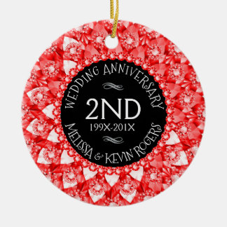 diamanter och svart för @ndbröllopsdag röda rund julgransprydnad i keramik