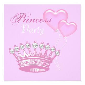 DiamantkronaPrincess födelsedagsfest inbjudan Fyrkantigt 13,3 Cm Inbjudningskort