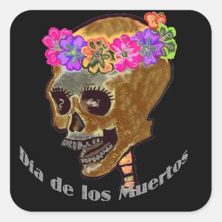 Diameter de Los Muertos Skalle Fyrkantigt Klistermärke