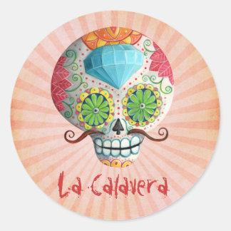 Diameter de Los Muertos Sockra skalle med Runt Klistermärke
