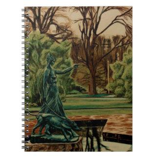 Diana Artemis skulptur i trädgårdar Anteckningsbok Med Spiral