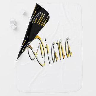 Diana namn, logotyp, vändbar babyBlanket. Bebisfilt