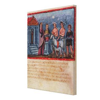 Didoen skapar ett offer, från Vergilius Vaticanus Canvastryck