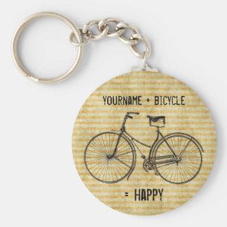 Dig gult för cykel för positiva cykeljämliken lyck rund nyckelring