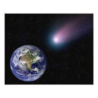 Digital komposit av en kometöverskrift in mot Ea Fototryck