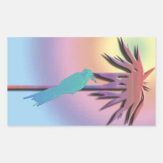 Digital konstdesign av cockatielen på den tropiska rektangulärt klistermärke