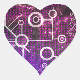 Digital universum hjärtformat klistermärke