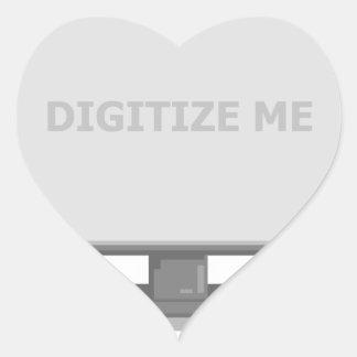 digitalisera mig hjärtformat klistermärke
