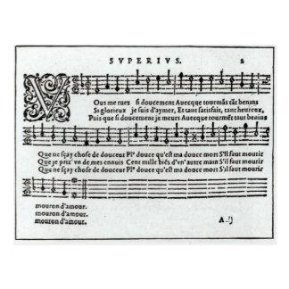Dikt till musik av Jean Antoine de Baif Vykort