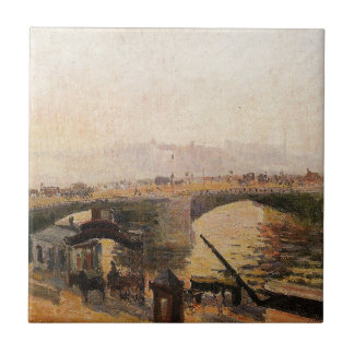 Dimma morgon, Rouen av Camille Pissarro Kakelplatta