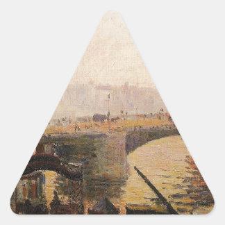 Dimma morgon, Rouen av Camille Pissarro Triangelformat Klistermärke