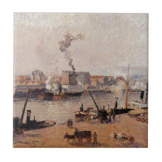Dimmig morgon Rouen av Camille Pissarro Kakelplatta