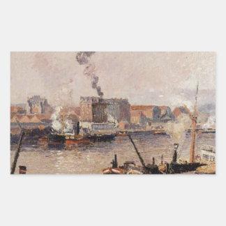 Dimmig morgon Rouen av Camille Pissarro Rektangulärt Klistermärke