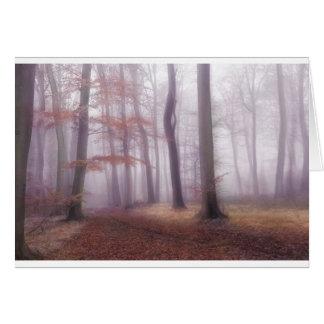 Dimmiga skogsmarker hälsningskort
