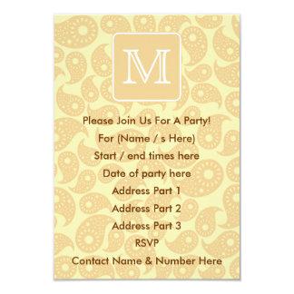 Din brevMonogram. Solbränd beige Paisley modell 8,9 X 12,7 Cm Inbjudningskort