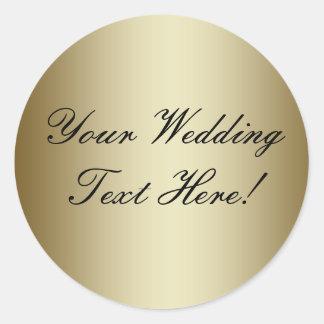Din design här Förseglar guld- bröllop för anpass Runda Klistermärken