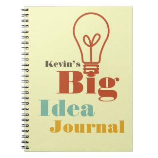 Din ecru för kula för stor idéjournal moderna ljus anteckningsbok med spiral