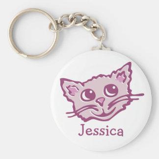 Din för kattrosor för kända gulliga ungar grafiska rund nyckelring