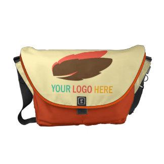 Din för logotyp marknadsföring för affär här befor kurir väskor