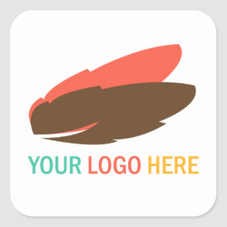 Din företags- eller affärslogotyp kvadrerar fyrkantigt klistermärke