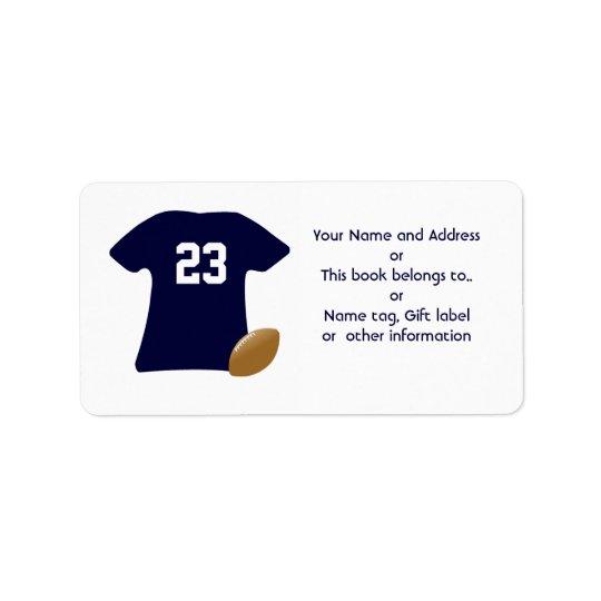 Din fotbollskjorta med amerikanfotbolletiketter adressetikett