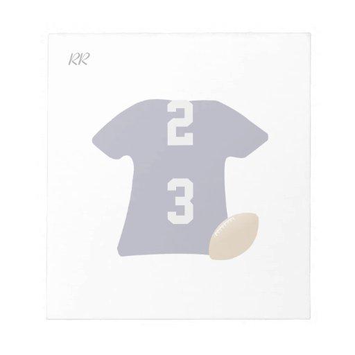 Din fotbollskjorta med boll på den små memo notepads