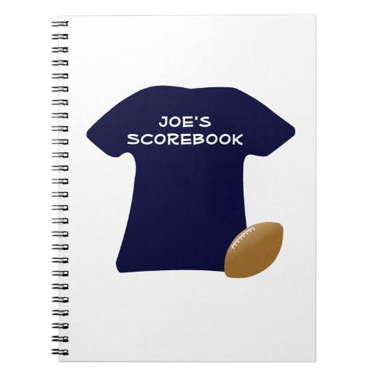 Din fotbollskjorta med bollanteckningsboken anteckningsbok med spiral