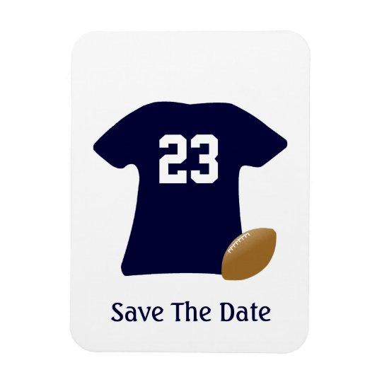 Din fotbollskjorta med bollspara datum magneter