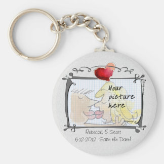 Din fotobröllop spara datum Keychains Rund Nyckelring