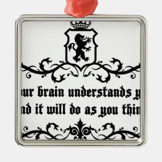 Din hjärna förstår dig det medeltida julgransprydnad metall
