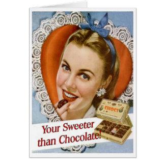 Din mer sweeter än choklad! Valentinkort Hälsningskort