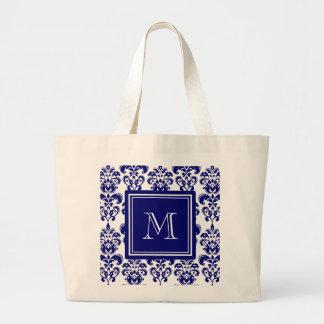 Din Monogram, marinblått damastast mönster 2 Jumbo Tygkasse