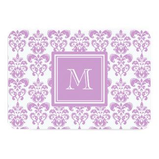 Din Monogram, purpurfärgat damastast mönster 2 8,9 X 12,7 Cm Inbjudningskort