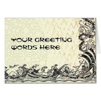 Din ord på retro fartyg och skrivar hälsningskort