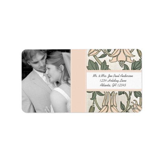 Din pion & grönt för silver för fotobröllopvintage adressetikett