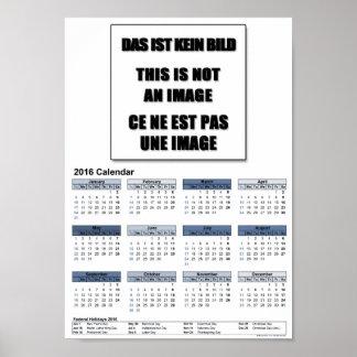 DinA4 kalendern 2016 värderar affischpapper Poster