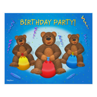 Dinky björnfödelsedagsfest print