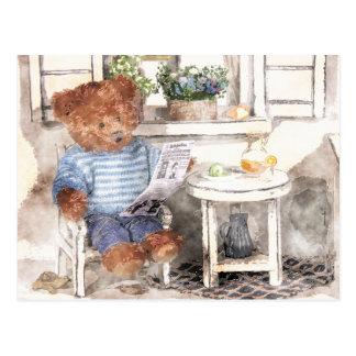 Dinky björnvattenfärg - läs- björn vykort
