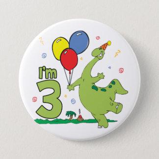 Dino knäppas den 3rd födelsedagen mellanstor knapp rund 7.6 cm