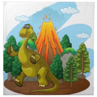 Dinosaur- och vulkanutbrott tygservett