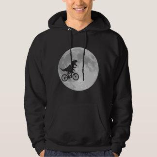 Dinosaur på en cykel i himmel med månen tröja med luva