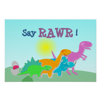 Dinosaurfamiljnågot att säga Rawr! Affisch