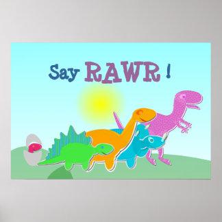 Dinosaurfamiljnågot att säga Rawr! Affisch Poster