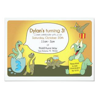 Dinosaurfödelsedagsfestinbjudan 8,9 X 12,7 Cm Inbjudningskort