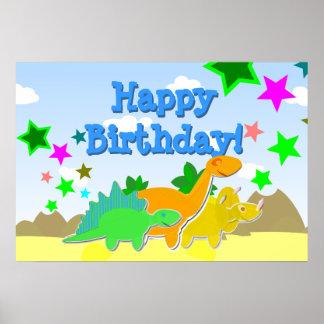 Dinosaursgrattis på födelsedagenaffisch posters