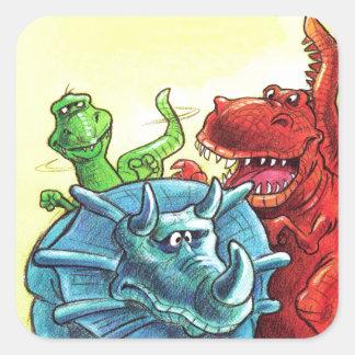 Dinosaurvänner Fyrkantigt Klistermärke