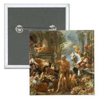 Diogenes som söker för en ärlig man, c.1650-55 (no standard kanpp fyrkantig 5.1 cm